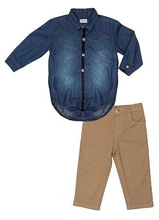 Conjunto masculino Bebe de  Camisa  Jeans com Calça Clubz