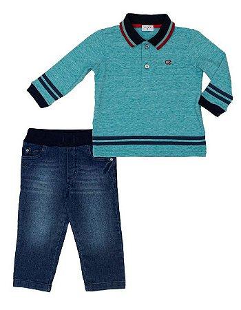 Conjunto Masculino Bebe com Pólo Verde e Calça Jeans Club Z