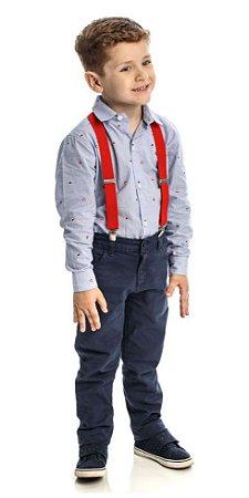 Conjunto Masculino Infantil de Camisa e Calça Sarja Club Z