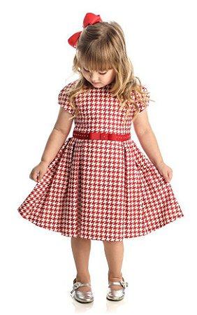 Vestido Festa Infantil Pied Poule Vermelho Matinée