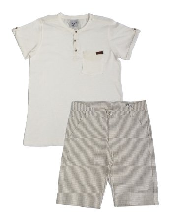 Conjunto Masculino Infantil Bata Branca e Bermuda Club Z