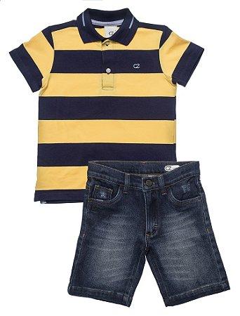 Conjunto Masculino Infantil Pólo Listrada com Bermuda Jeans Club Z