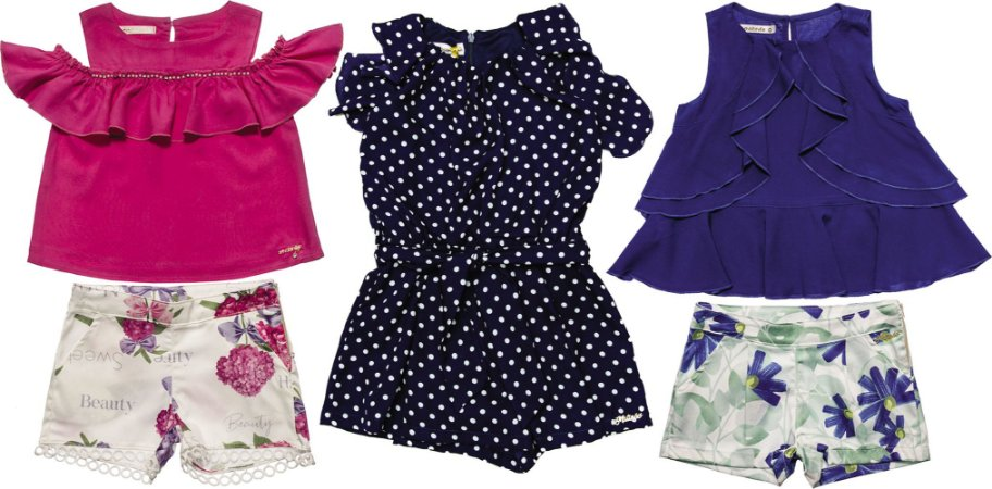 Kit 03  Conjuntos Infantis Feminino Verão Matinée