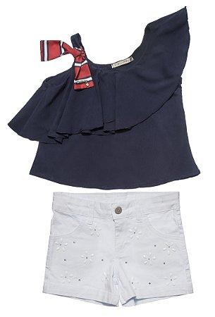 Conjunto Feminino Infantil Bata Azul com Shorts Branco Matinée