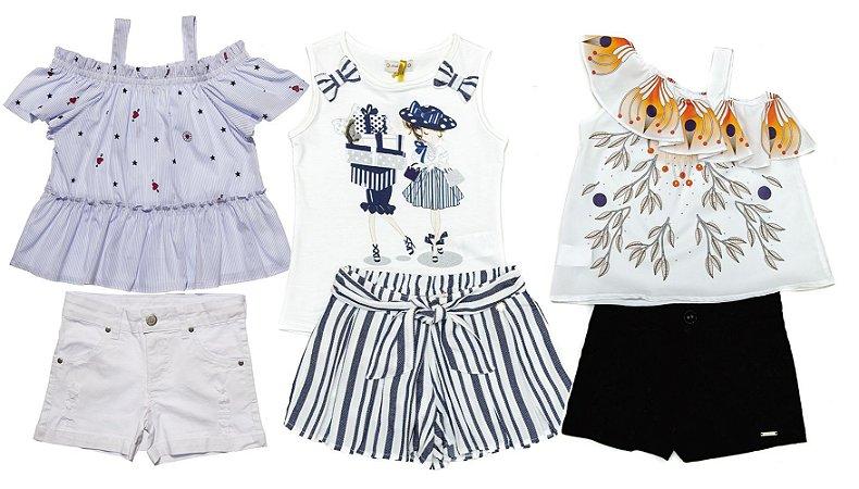 Kit 03 Conjuntos Infantis Feminino Verão
