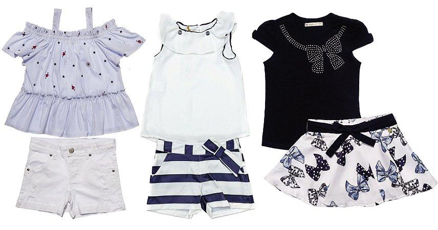 Kit 03 Conjuntos Infantis Feminino Azul Verão Matinée