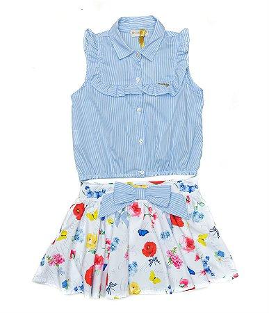 Conjunto Infantil Feminino Blusa Azul e Saia Matinée