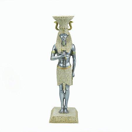 Castiçal de Tutankamom Marmorizado