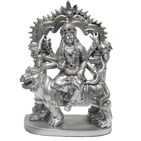 Estátua Deusa Durga com Portal Prateado