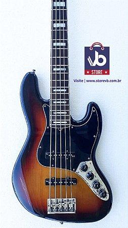 Baixo Fender American DELUXE V Sunburst (Super Conservado) - Ano 2013
