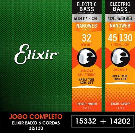 Encordoamento para baixo ELIXIR 6 Cordas - 0.32
