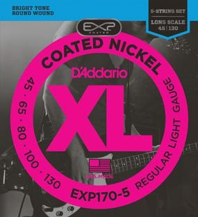 Encordoamento Daddario COATED (EXP) para Baixo 5 Cordas