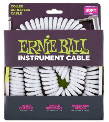 Cabo Ernie Ball Ultraflex Branco Em L 9,14m Espiral