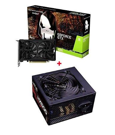 Kit Gamer Placa De Vídeo GeForce Gtx 1650 4gb DDR6 + Fonte 500w Reais Nexus 80 Plus Bronze PFC ativo