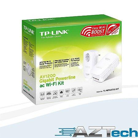 Adaptador Powerline Av1200 Gigabit Repetidor WiFi AC1750 TP-Link TL-WPA8730P Kit