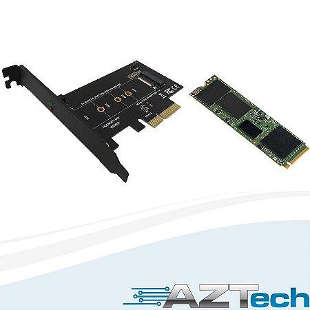 Kit HD SSD M.2 NVME 256GB Intel Série 600P + Adaptador PCI-E X4 (SSDPEKKW256G7X1)