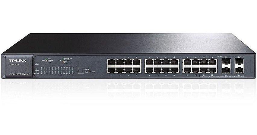 Switch 24 Portas Gigabit Poe+ 802.3AF/AT TP-Link T1600G-28PS (TL-SG2424P)
