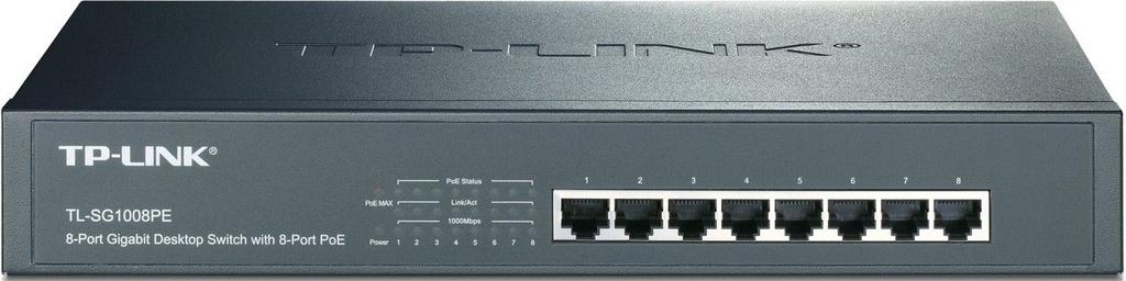 Switch Gigabit 8 Portas Poe+ Tp-link Tl-sg1008pe Rackmount