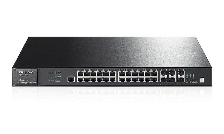 Switch 24 Portas Gigabit SFP+ 10G Gerenciável L3 TP-Link T3700g-28tq