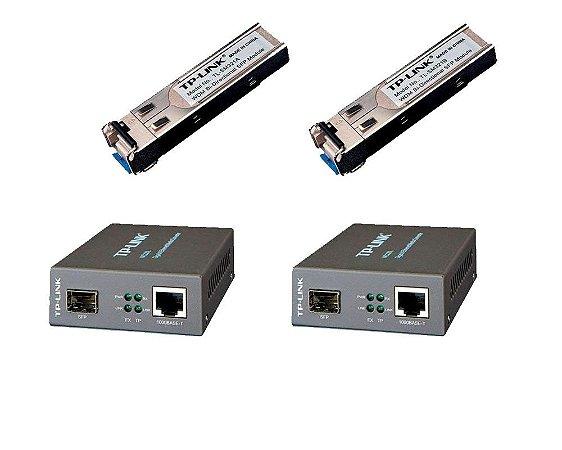 Kit Conversor Fibra ótica WDM 1000 MC220L + GBIC SM321A + SM321B