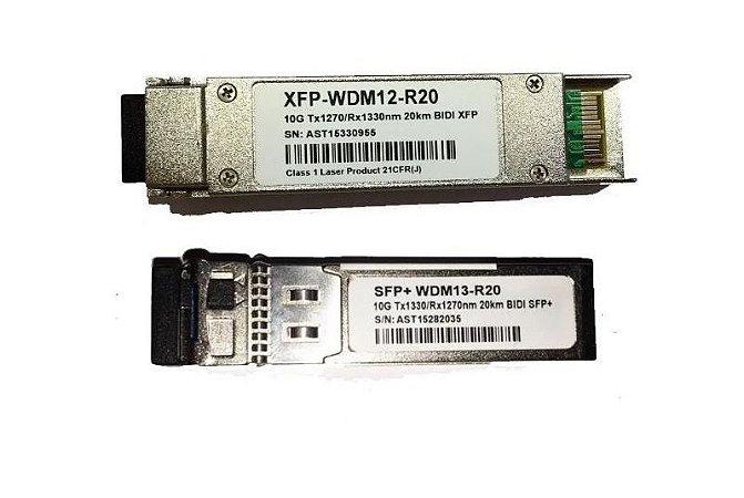 Kit Módulos GBIC SFP+ e XFP 10G 20KM 1FO Bidirecional  XFP 1330 / 1270 LC Simplex