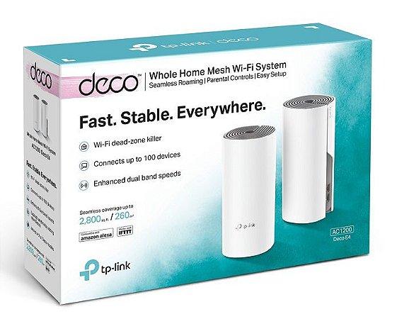 Kit 2 Peças Repetidor Wi-fi Mesh Deco E4 Ac1200 Tp-link