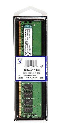 Memória Kingston 8gb 2400mhz Ddr4 Cl17 Kvr24n17s8/8 Desktop