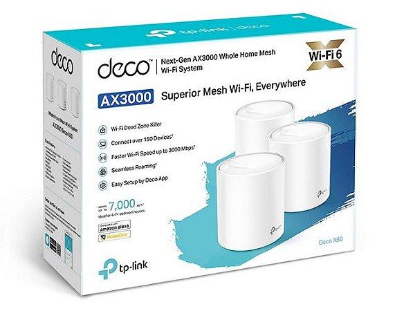 Kit 3 Peças Repetidor Wi-fi 6 Mesh Deco X60 Ax3000 Tplink