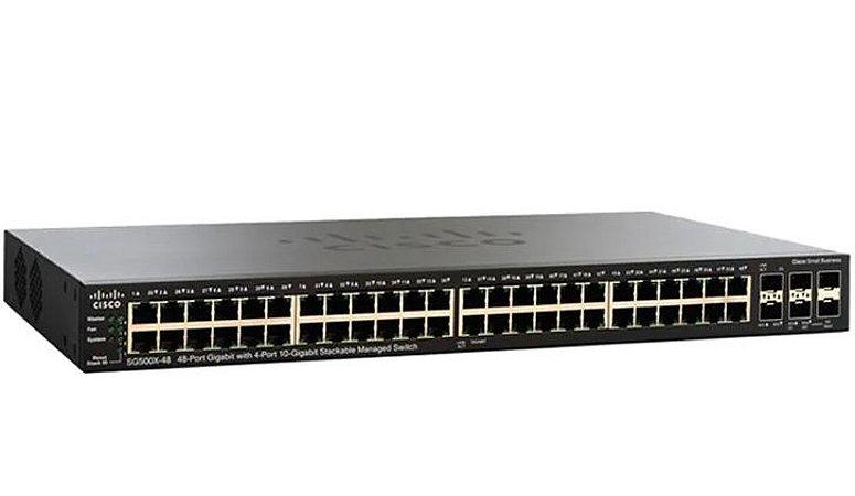 Switch Cisco SG500X-24-K9-NA Gigabit Gerenciável L3 Empilhável com 4 portas 10GBase SFP+