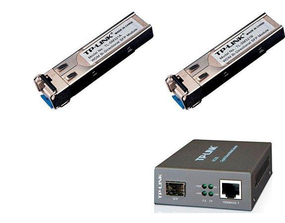 Kit Conversor Fibra Ótica 1 Mc220l + Gbic Sm321a +sm321b 3pç