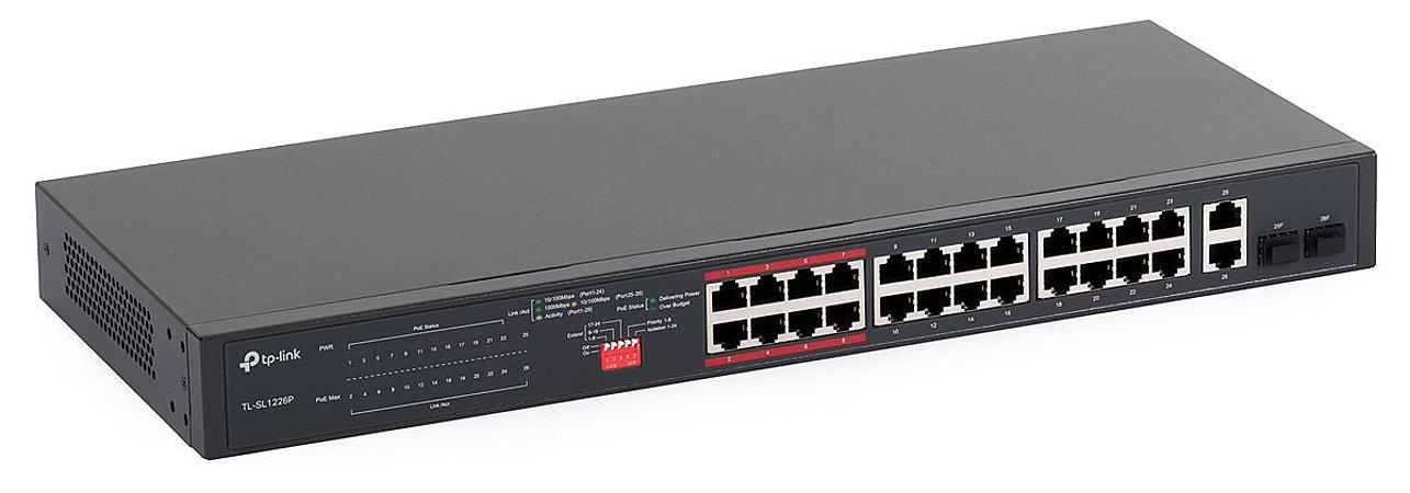 Switch 24 portas POE+ com 2 portas Gigabit e 2 SFP TP-Link Tl-SL1226P 250W