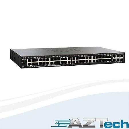 Switch 48 portas Gigabit Gerenciável 4 portas SFP+ 10G Cisco SG500X-48-K9-NA Empilhável