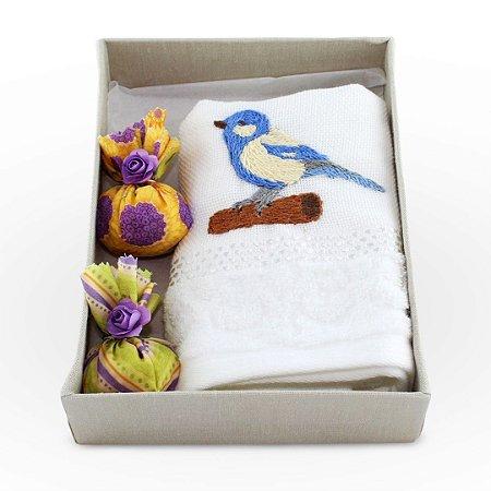 Kit Lavabo 02 - pássaro bege e azul royal