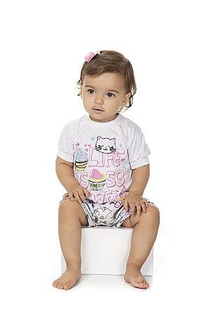 Pijama Meia Manga Meia Malha - Gatinha Cupcake - Branco
