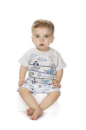 Pijama Menino Meia Manga Meia Malha - Mescla Bebê