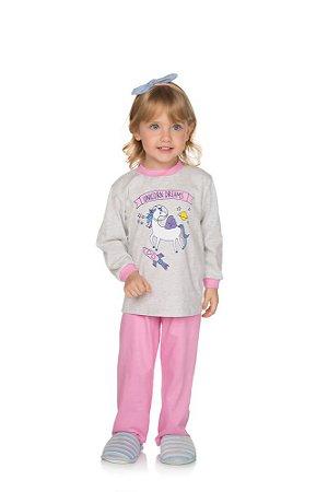 Pijama Menina Meia Malha - Mescla Claro com Chiclete