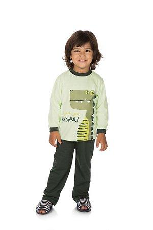 Pijama Menino Meia Malha Modelo que Brilha no Escuro - Verde Menta com Musgo