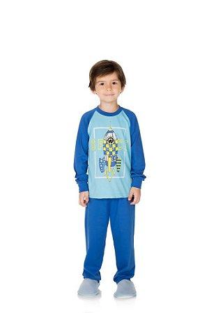 Pijama Menino Meia Malha - Azul Celeste com Royal