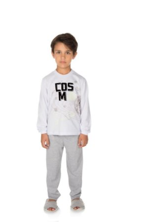 Pijama Menino Meia Malha Modelo que Brilha no Escuro - Branco com Mescla