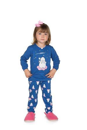 Pijama Menina Meia Malha - Royal