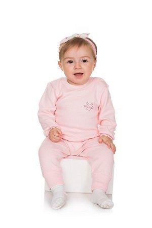 Pijama Menina Ribana Canelada - Rosa Claro