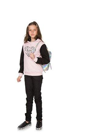 Blusão Menina com Touca Moletom - Rosa Claro com Preto