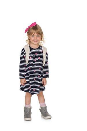 Vestido com Colete Cotton/Pelo - Marinho