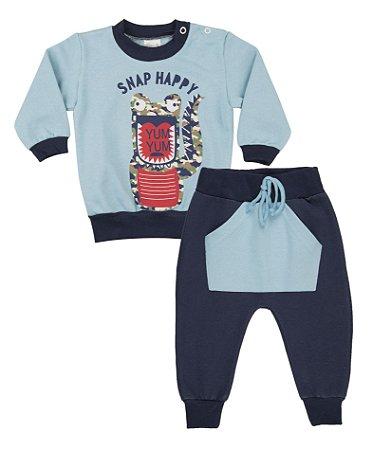 Conjunto Menino Calça Saruel com Bolso Moletom - Azul Celeste com Marinho