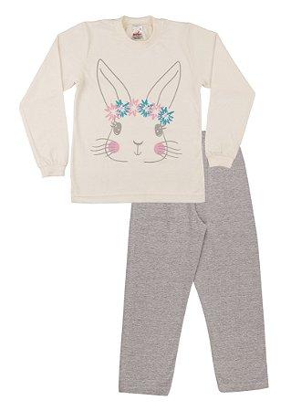 Pijama Menina Meia Malha - Marfim com Mescla