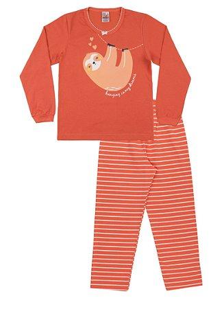 Pijama Menina Meia Malha - Coral