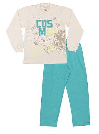 Pijama Menino Meia Malha Modelo que Brilha no Escuro - Marfim com Verde Lago