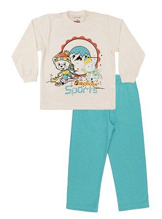 Pijama Menino Meia Malha - Marfim com Verde Lago