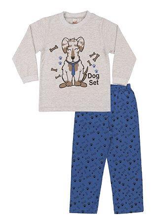 Pijama Menino Meia Malha - Mescla Claro com Royal
