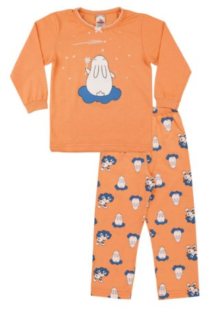 Pijama Menina Meia Malha - Salmão